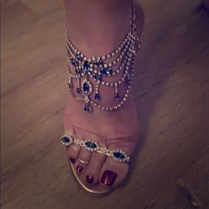 Sapphire and Opal gem ankle strap sandal heel